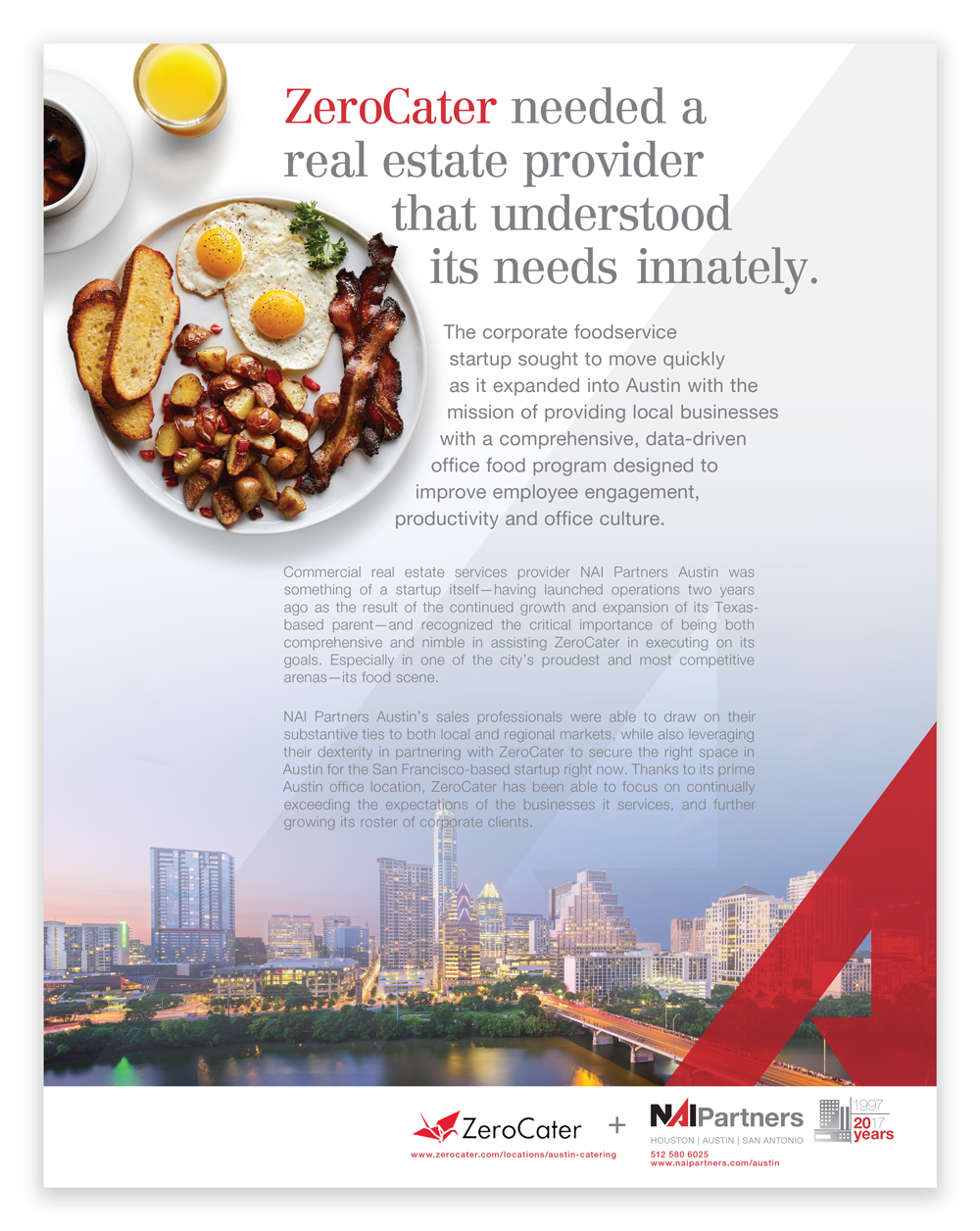 Zero Cater, an Austin foodservice provider teamed up with commercial real estate company, NAI Partners