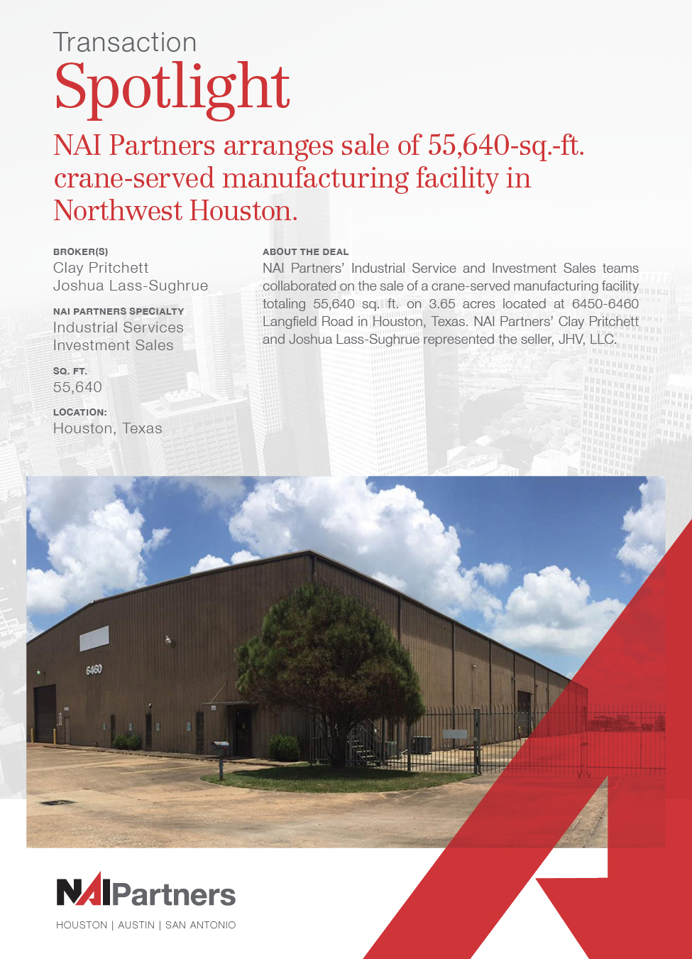 Houston Commercial Real Estate | Transaction Spotlight Industrial Services, Investment Sales