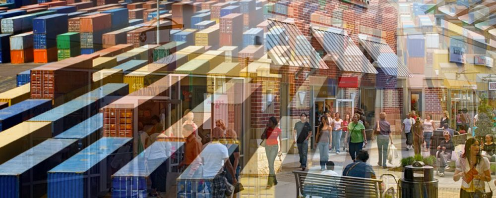 Houston Retail Commercial Real Estate Market Quarterly Report with Economic Data and Information - port containers and retail shopping