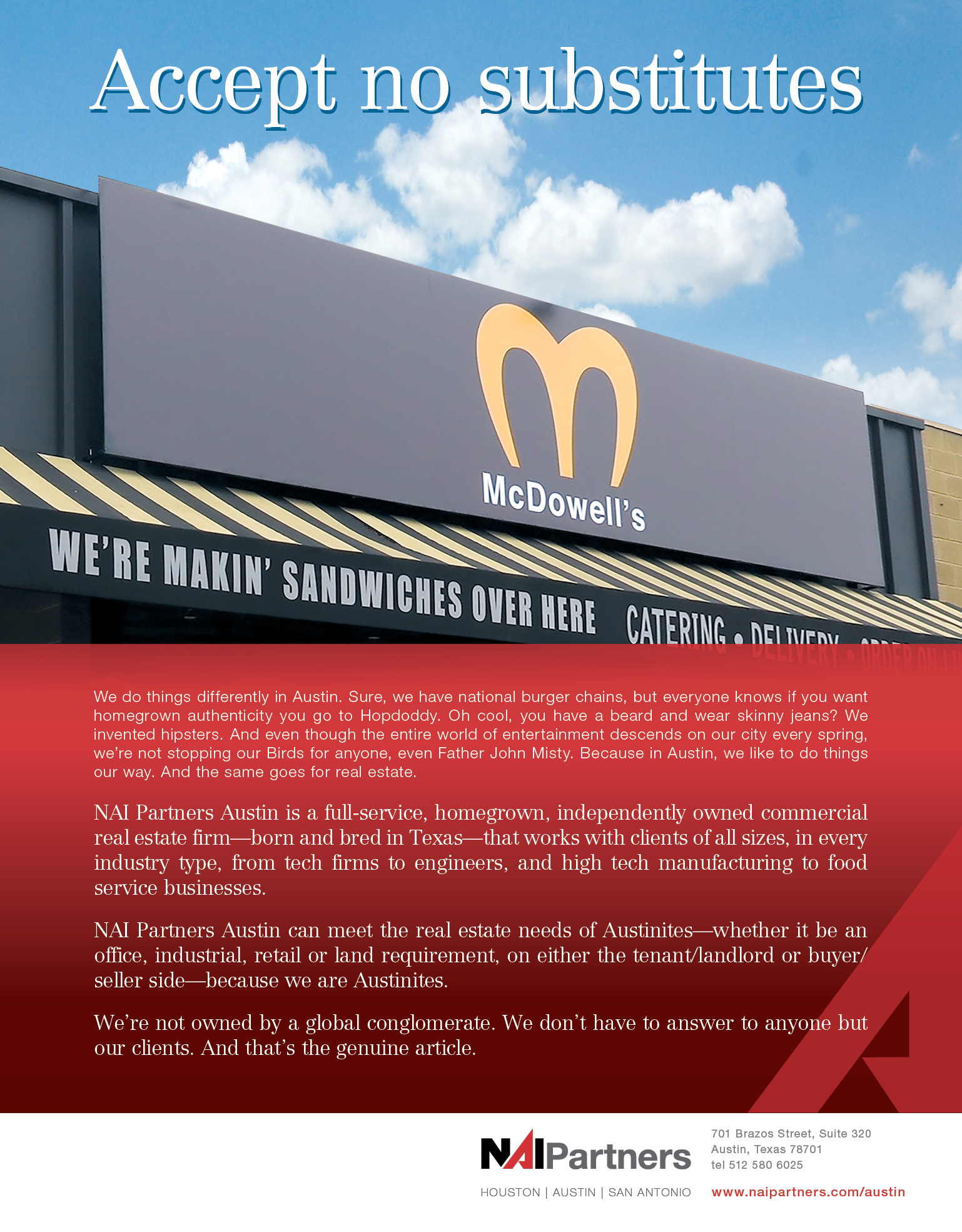 NAI Partners Austin Business Journal Ad - Accept no substitutions- McDowell's