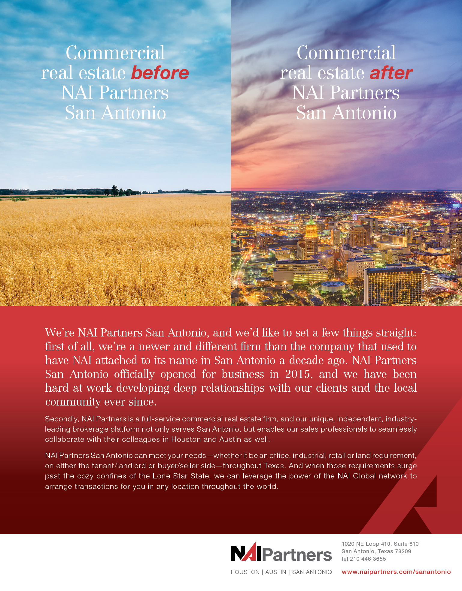 San Antonio Business Journal Ad - Commercial Real Estate Before and After NAI Partners