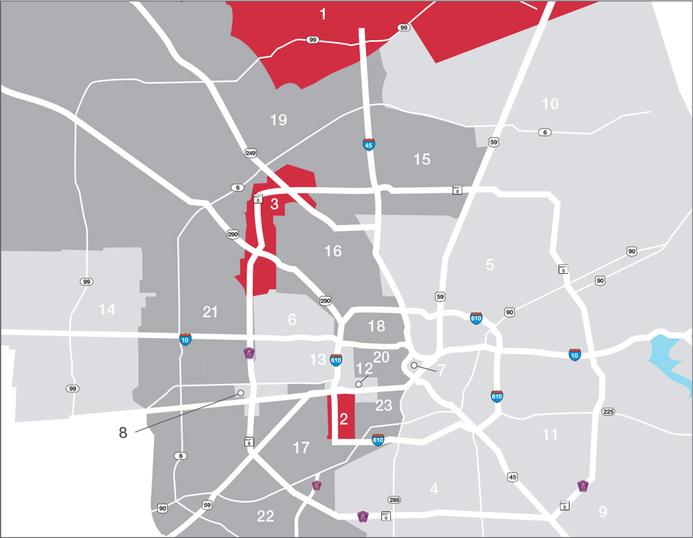 Houston Office Commercial Real Estate Market Data and economic Information - Absorption Heat Map